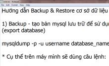 Hướng dẫn backup và restore cơ sở dữ liệu