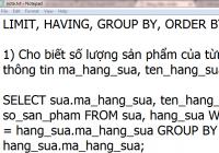 Hướng dẫn sử dụng having, limit, group by, order by trong MySQL