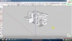 Sketchup thiết kế biệt thự - Bài 5: Dựng mái, sê nô và hào chỉ