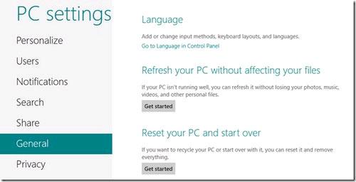 Lệnh Refresh và Reset trên Windows 8