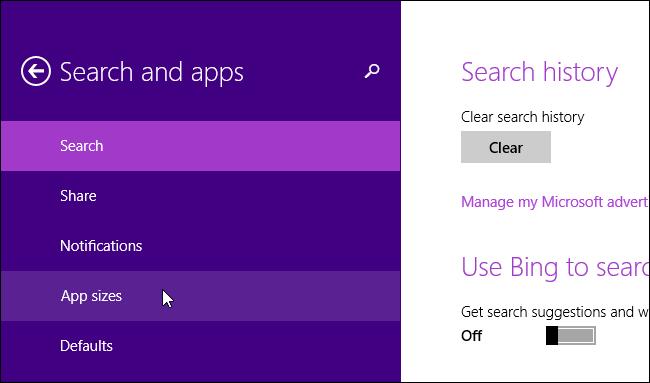 Kiểm tra dung lượng ứng dụng cài đặt trong Windows 8  |hoc sua chua may tinh|noi hoc sua chua may tinh |dia chi hoc sua chua may tinh