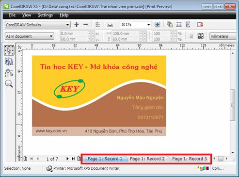 mail merge trong corel draw