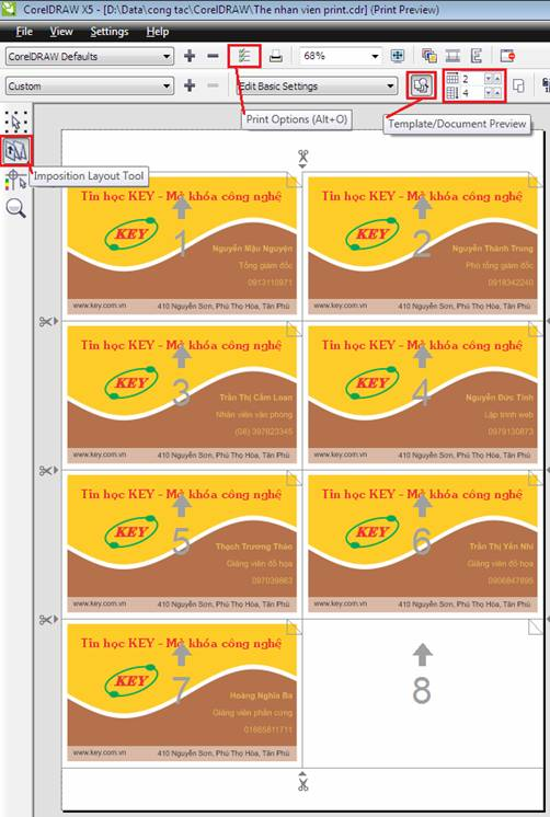 mail merge trong corel draw