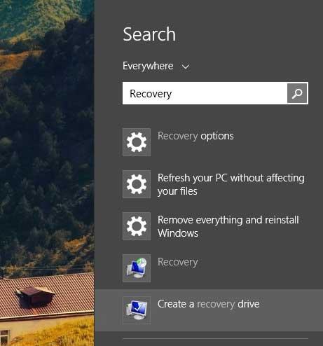 Nhập dòng chữ Recovery vào Search.