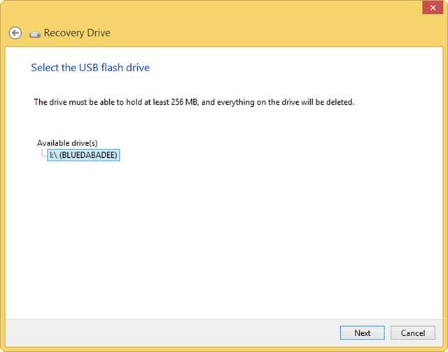 Tiếp theo hãy chọn ổ đĩa USB hiện đang kết nối với máy tính và chọn Next.