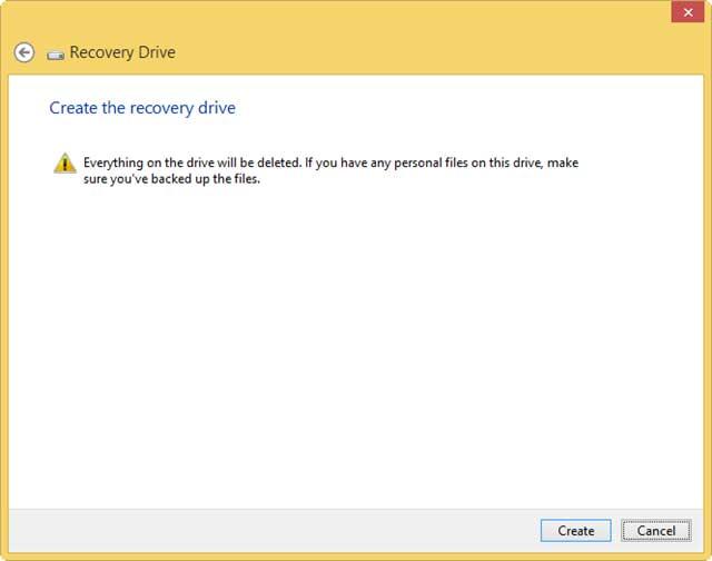Cuối cùng, nhấn Create để bắt đầu tạo USB Recovery cho Windows 8.1.