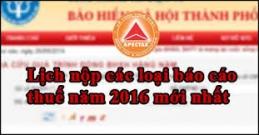Lịch nộp báo cáo thuế năm 2016