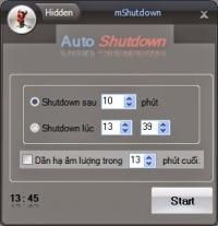 mShutdown - Phần mềm hẹn giờ tắt máy